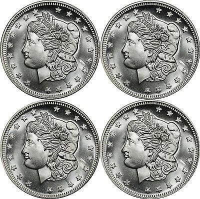 lot of (4) Vintage Parliament Morgan Head 1 oz Silver Round, BU