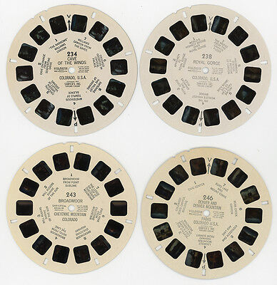 4 ViewMaster Reels - Cave of the Winds, Royal Gorge, Broadmoor, Denver, Colorado
