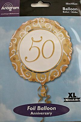 Anagram 50th Anniversary Foil Balloon - XL 18in/45cm - Refillable - Made in USA