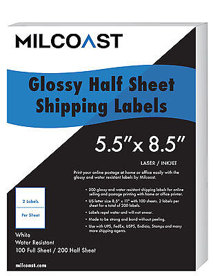 "200 Half Sheet Shipping Labels Glossy Water Resistant 5.5 x 8.5"" UPS FedEx etc"