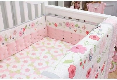 Safe Breathable Baby Crib Bumper Girls Flower Butterfly Pink White Green Color