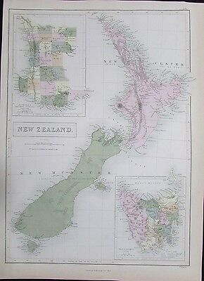 New Zealand van Diemens Land SW Australia 1850 Hughes large folio antique map