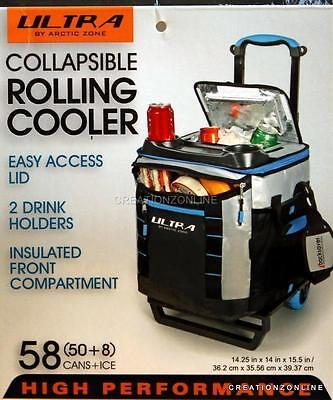 Collapsible Rolling Cooler Artic Zone Ultra 60 Cans + Ice California Innovations