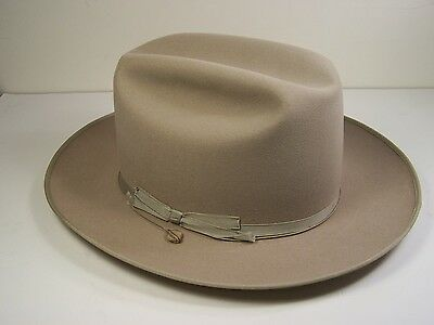 Vintage Royal Stetson Open Road Fedora 7/8 Long Oval  Clean Light Grey