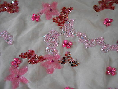 Vintage Trims Lace Ribbon Border Glass Bead Embroidered Fragment Pinks India F1