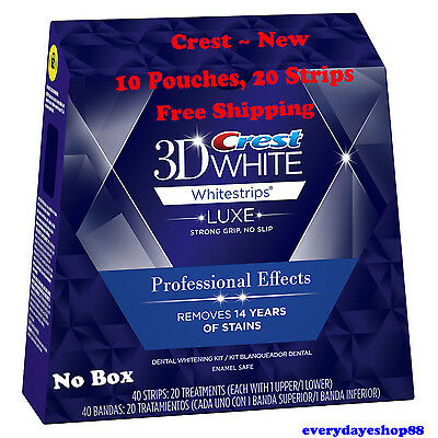 Crest 3D Whitestrips LUXE Professional Effects WHITENING 20 strips, 10 Pouches