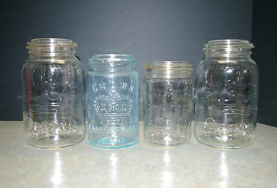 Vintage 1960's Lot Of 4 Crown Glass Mason Jars - 1 Blue And 3 Clear Glass