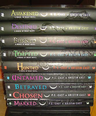 Lot - 9 House of Night Series Books by P. C. & Kristin Cast 1 - 9 Complete