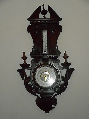 Antique Carved Black Forest Wood Barometer Thermometer.XIX°.