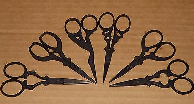 Embroidery Scissors + Pouch 4 inch Precision Snips Matt Black Vintage Style