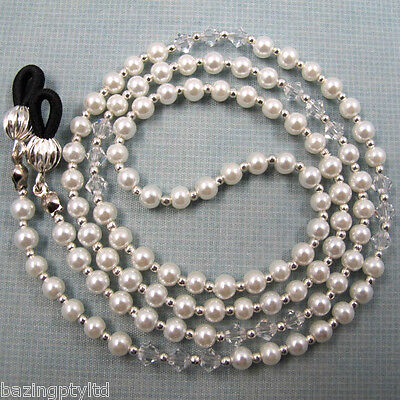 White Pearl Crystals Sunglasses Reading Glasses Specs Eyeglass Holder Chain Cord