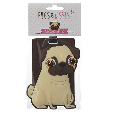 Cute Pug PVC Luggage Tag ~ Pugs and Kisses Holiday Suitcase Address ID Label