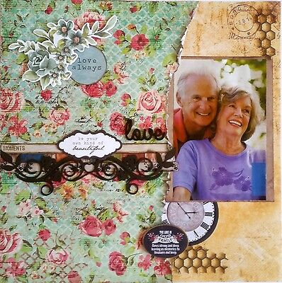 12 x 12 Handmade Scrapbook Page - Love Always