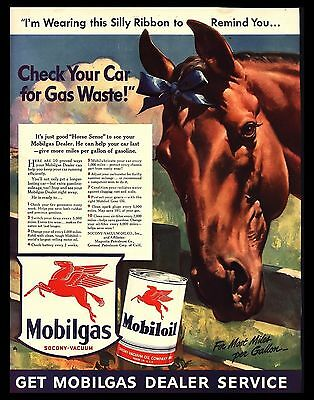 "Original 1942 ""mobiloil-Mobilgas"" Blue Ribbon Horse Head Art Print Ad"