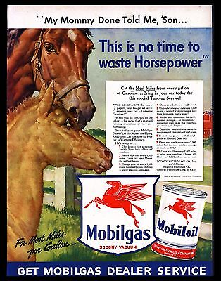 Original 1942 Print Ad Mobilgas Mobiloil Red Horse Wartime Car Service Pays Wide Selection; Collectibles 1940-49