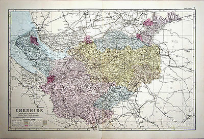 CHESHIRE COUNTY MAP. BACON c1881 GENUINE LARGE ANTIQUE ORIGINAL HAND COLOUR