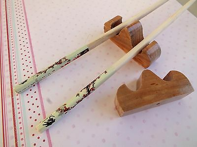 2 Japanese Chopsticks S Wooden Stand Rest Chinese New Year Birthday Dinner Party