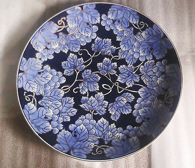 """Japan Gold Imari hand painted blue large 13.5"""" plate inc         stand very rare"""