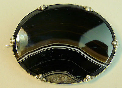 A Fine Victorian Antique Silver (Tested) Large Banded Agate Brooch C.1880