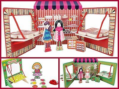 Wooden Stalls Shop Front Pretend Play Preschool Toy Girls Boys Fruit Sweets NEW