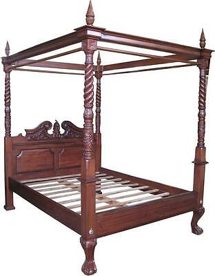 """4'6"""" Double Queen Anne 4 Poster Canopy Bed Solid Mahogany Antique Repro B021"""