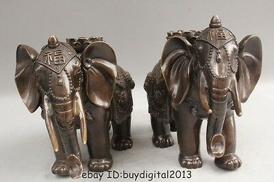 """9""""Lucky Chinese Fengshui Bronze Fu lotus flower Elephant Statue Pair sculpture"""