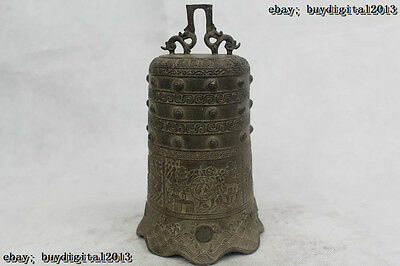 """9""""Chinese Old Folk Pure Bronze excellent Lucky bell Clock Statue"""