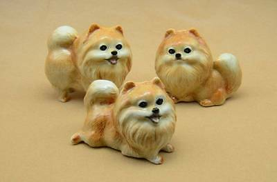 New  Adorable Pomeranian Family Set Of 3  Figurines They Are Adoroble *mint*