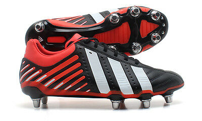 Adidas Adipower Kakari SG Mens Black White Red Rugby Boots Size UK 14 Wide Fit