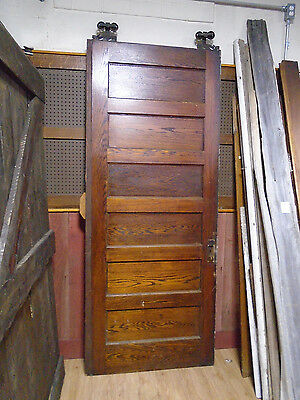 "VINTAGE OAK SIX PANEL POCKET DOOR w/ HARDWARE CIRCA 1870  37"" X 90 1/4"" (7147)"