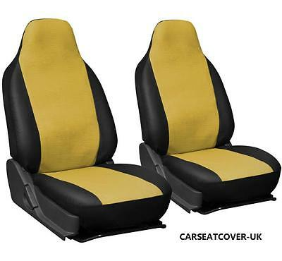 HYUNDAI IX20  - YELLOW & BLACK Leatherette Car Seat Covers - 2 x Fronts