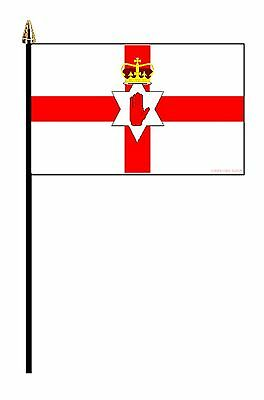 "NORTHERN IRELAND BRITISH PACK OF 12 SMALL HAND FLAGS flag 6""x4"" with 10"" pole"