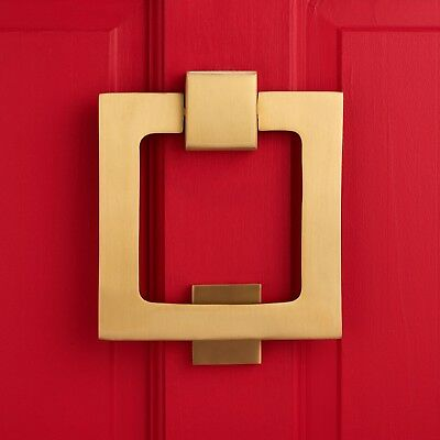 Contemporary Modern Solid Brass Gold Square Heavy Front Door Knocker entrance