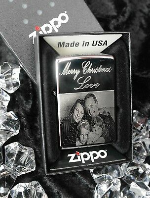 Personalised Chrome Windproof Zippo Cigarette Lighter Photo Engraved