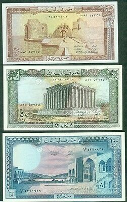 Lebanon, 6 Different Banknotes, Xf/unc
