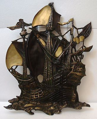 ANTIQUE style ship's BRASS Plaque - Sailing Boat / Vessel / Maritime / Nautical