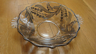 Vtg glass bowl w sterling silver flower overlay lilies of valley scalloped rim