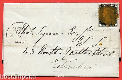 """SG. 2. A1 (2). AS44. """" GB """". 1d black. Plate 7. A used example on cover."""