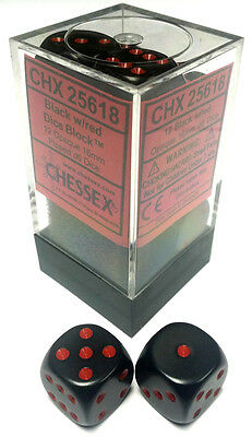 Chessex Dice: Opaque 16mm D6 Black/Red (12) CHX 25618