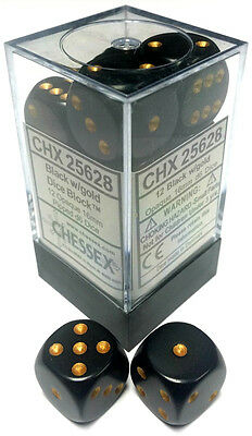 Chessex Dice: Opaque 16mm D6 Black/Gold (12) CHX 25628