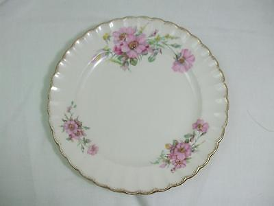 """Vintage 10"""" Plate Golden Ware by Sebring USA Warranted 22-K Pure Gold Wild Rose"""