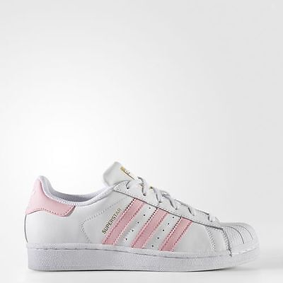 New Adidas Youth Originals Superstar Foundation Gs [S81019]  White//lt Pink-Gold