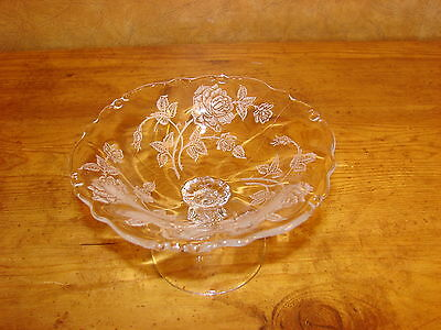 Vintage Heisey Rose Crystal Low Foot Compote-Open CandyDish-Elegant Glass-Etched