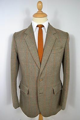 VINTAGE 1960's LYNTON WOOL & POLYESTER GREEN CHECK BLAZER JACKET SMALL 38 REG
