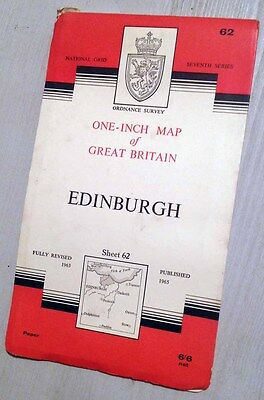 Ordnance Survey Map 62 Edinburgh 1965 (Good Cond)