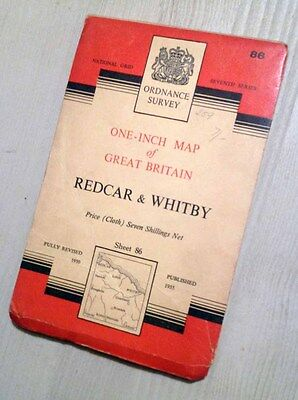 Ordnance Survey Cloth Map 86 Redcar & Whitby1955 (Good Cond) 1950s