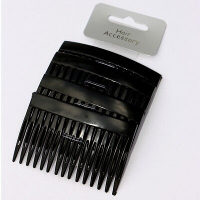 Lot de 4 peignes à cheveux noirs 7 x 4,5 cm courbé - 4 black curved hair combs