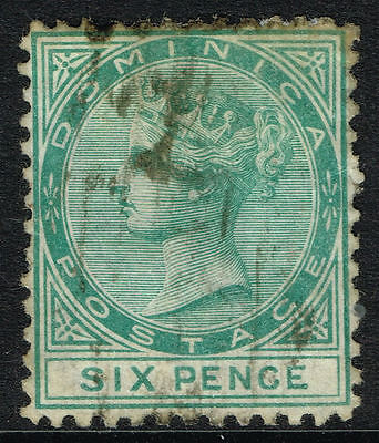 SG 2 DOMINICA 1874 - 6d GREEN - USED