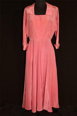 Rare Vintage Wwii Era 1940'S Long Peach Silky Rayon Hollywood Robe Size 10+