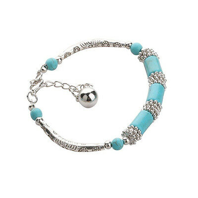 Plated Brand New Infinity Stretchy Gemstone Ankle Fake Turquoise Bracelet